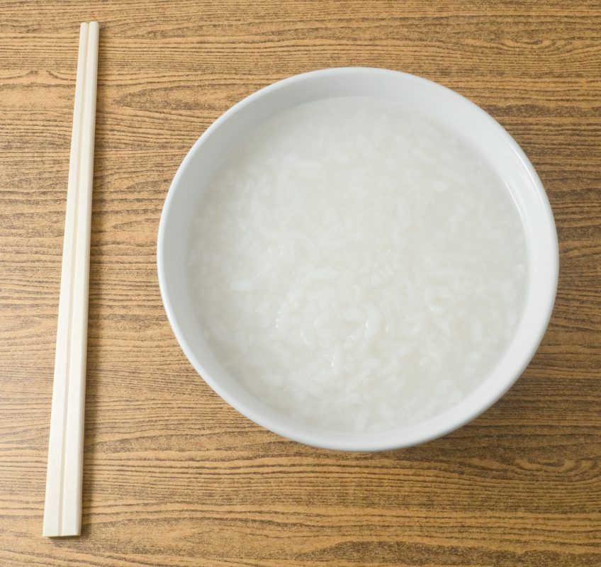 Warm rice soup, or congee, provides nutrients infants can absorb.