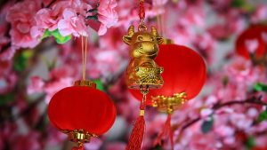 Yin Metal Ox with Blossoms