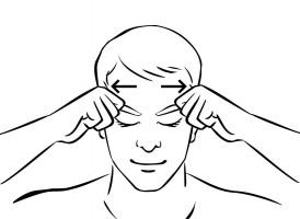 Eyebrow sweeps Chinese acupressure massage