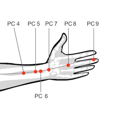 Acupressure massage Pericardium 6 amethyst