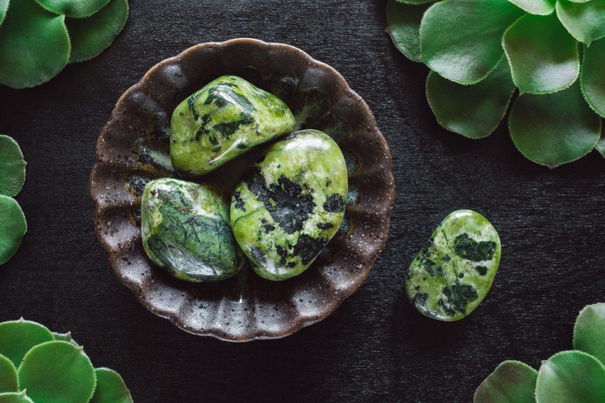 Green jade stones